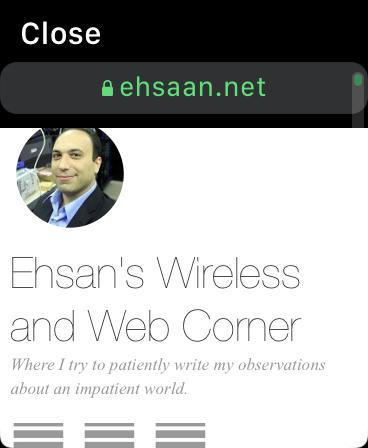 My website rendered on Apple Watch Webkit