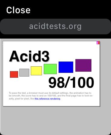 Acid Test 3 on Apple Watch Webkit