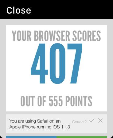 HTML5 score on the Apple Watch Webkit